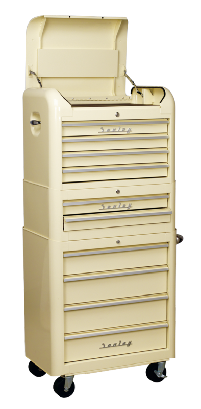 Sealey 3 piece retro combination tool chest 10 drawer in cream finish