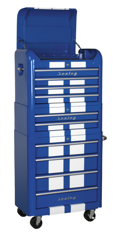 Sealey 3 piece retro combination tool chest Blue with White Stripes