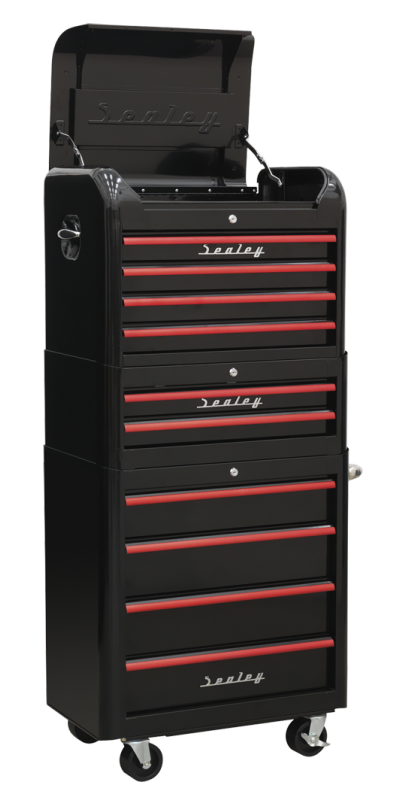 Sealey 3 piece retro combination tool chest in black with 10 Red Anodised Drawer Pulls