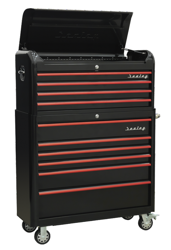 Sealey Retro 2 Piece Tool Chest 10 Drawer Black with Red Anodised Drawer Pulls