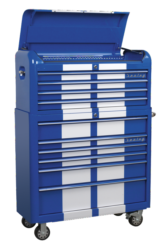 Sealey Retro 2 Piece Tool Chest 10 drawer Blue with White Stripes