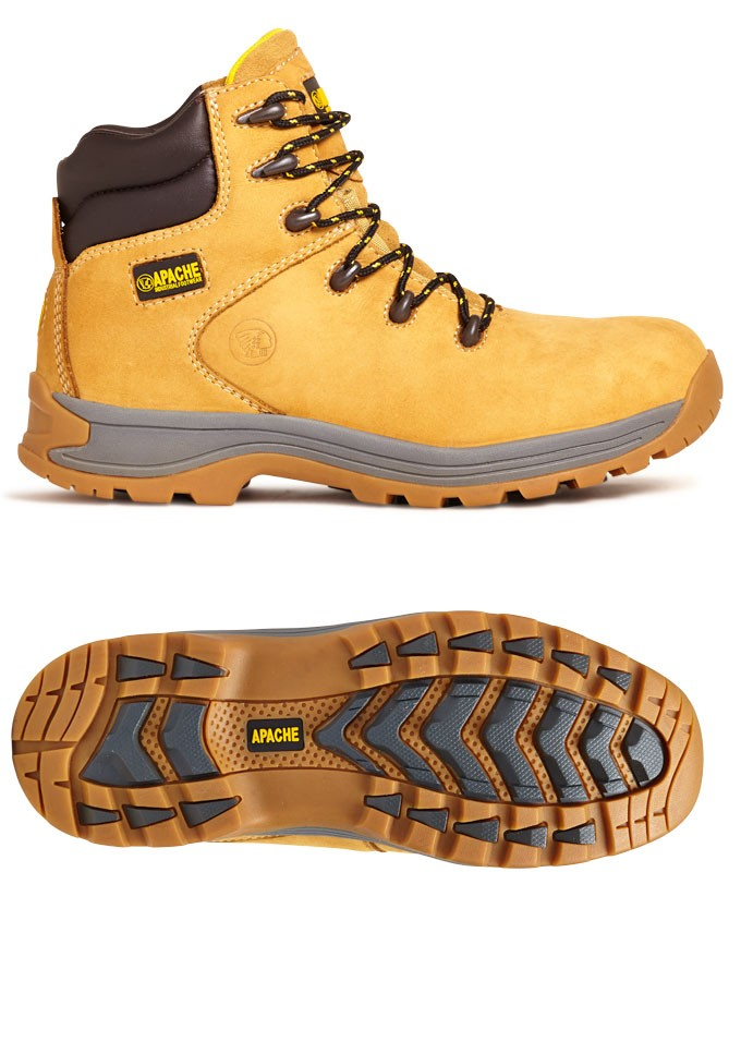 Apache Nu-buck Safety Hiker Workboots Honey